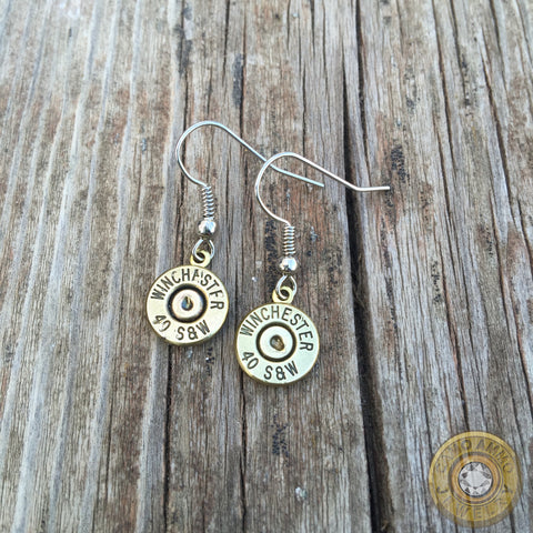 .40 S&W Brass Bullet Casing Dangle Earrings