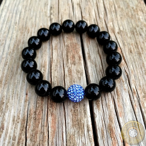 "Women's ""Thin Blue Line"" Swarovski Beaded Stretch Bracelet"