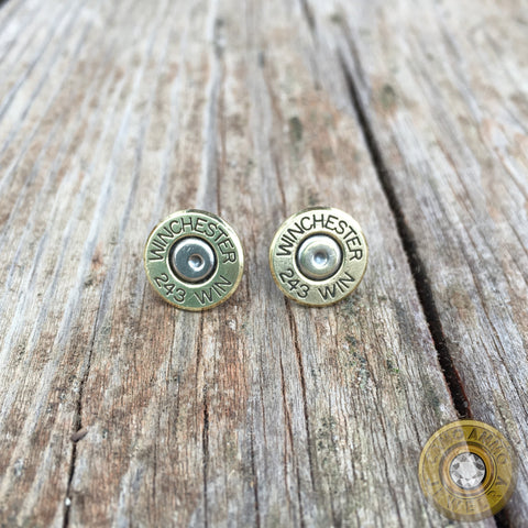 .243 Brass Bullet Casing Stud Earrings