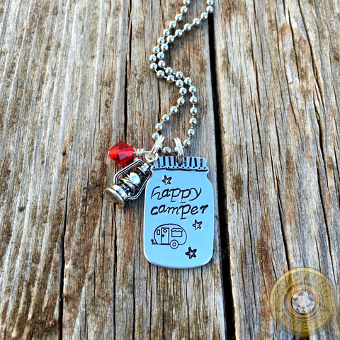 Happy Camper Mason Jar Necklace With Lantern Charm