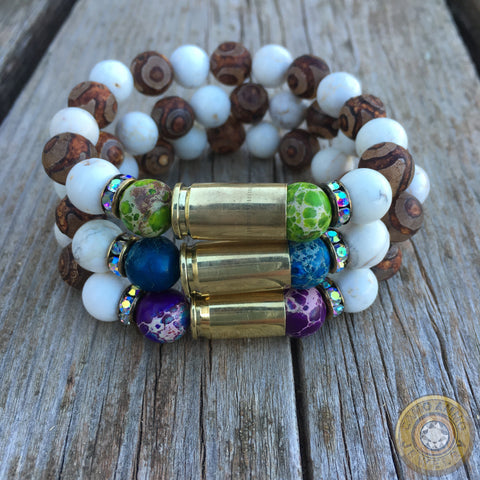 9mm Tibetan Agate and Jasper Beaded Stretch Bullet Casing Bracelet