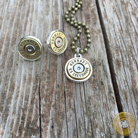 6.5 Creedmoor Brass Bullet Casing Necklace and Earring Set