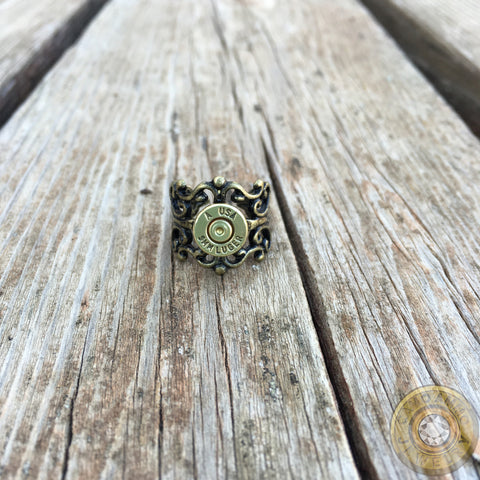 Antique Brass Bullet Casing Filigree Ring