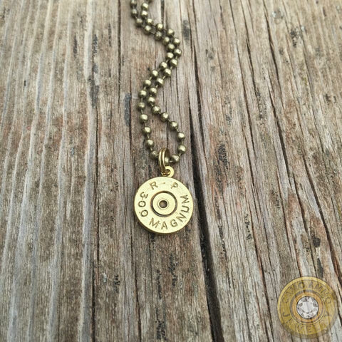 Brass Bullet Casing Necklace with Antiqued Brass Ball Chain