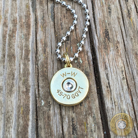 45 70 Government Brass Bullet Casing Necklace