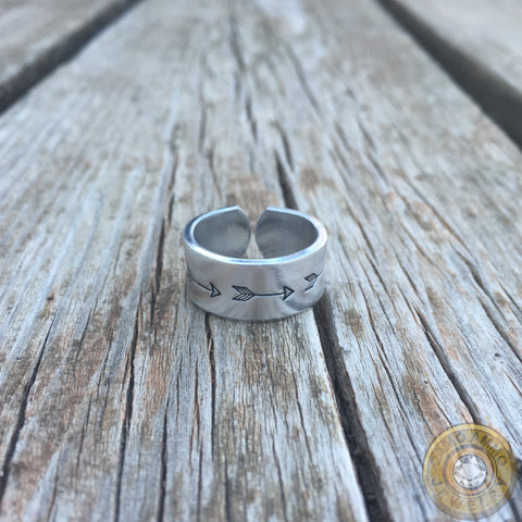 Arrow Stamped Aluminum Cuff Ring