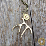 Gold Antler Charm and Ammo Necklace Colorado Topaz
