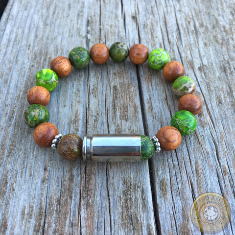 Camo Ammo 9mm Nickel Bullet Casing Beaded Bracelet