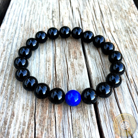 "Men's ""Thin Blue Line"" Beaded Stretch Bracelet"