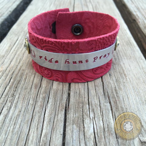 """Ride Hunt Pray"" .270 Red Leather Cuff Bracelet"