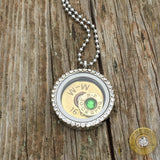 Floating Charm Locket with 16 Gauge Shell and Ammo Charm