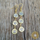 Triple Drop Brass Bullet Casing Earrings with Clear Crystals