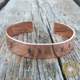 Antler Stamped Bangle Bracelet Copper, Brass, Aluminum