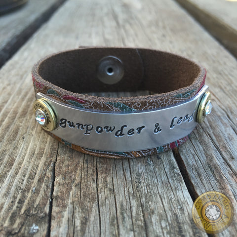 """Gunpowder & Lead"" .38 Special Paisley Leather Cuff Bracelet"