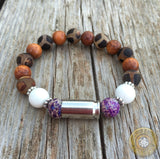 9mm Tibetan Agate and Wood Beaded Stretch Bullet Casing Bracelet