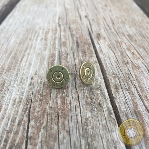 270 Brass Bullet Casing Stud Earrings with Swarovski Crystals