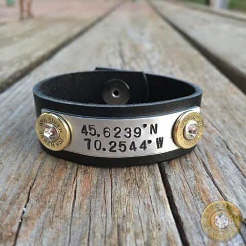 "Custom ""Coordinates"" Leather Ammo Bullet Casing Cuff Bracelet"