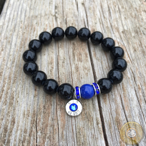 """Thin Blue Line"" Beaded Stretch Ammo Bracelet"