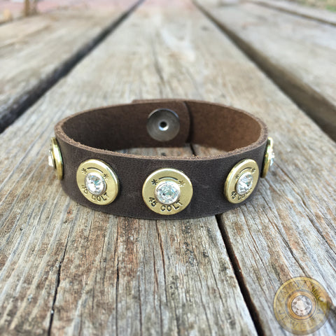 """5 Shot"" Leather Brass Bullet Casing Cuff Bracelet"