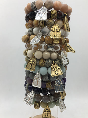 Stone Bracelet with a Cross Pendant