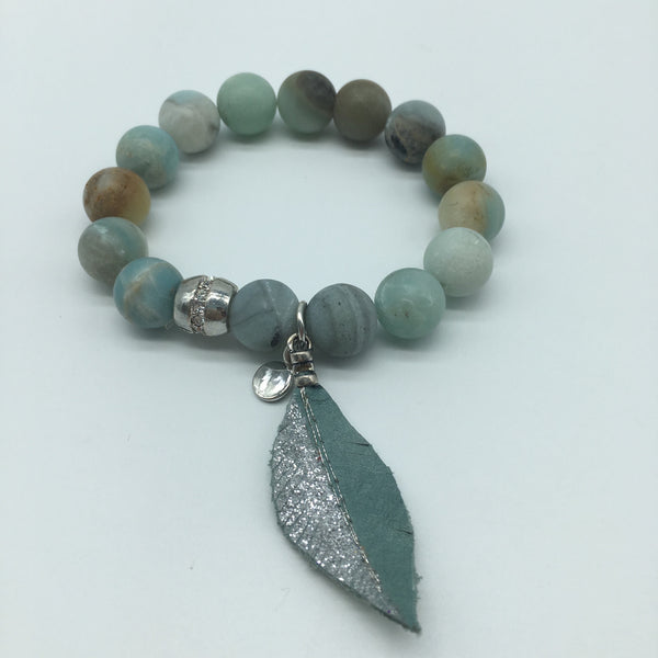 Stone Bracelet with Leather Feather Pendants