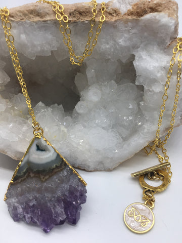 Triangle Amethyst Slice Necklace