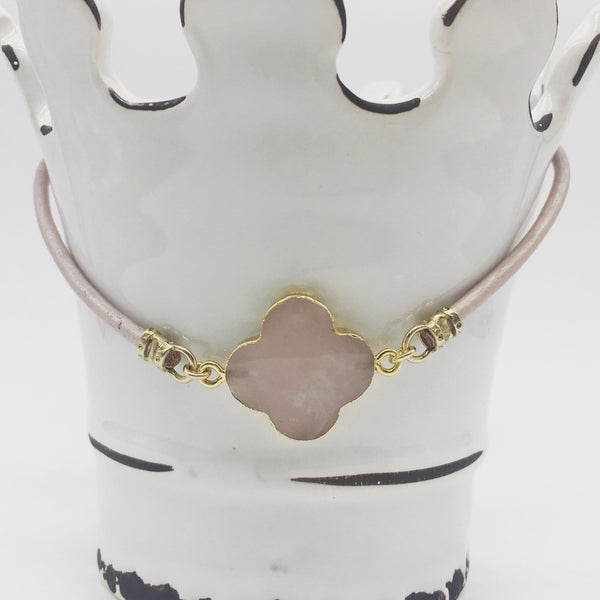Leather and Rose Quartz Choker