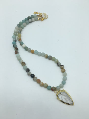 Amazonite Beaded Necklace Gold Electroplated Arrowhead Pendant