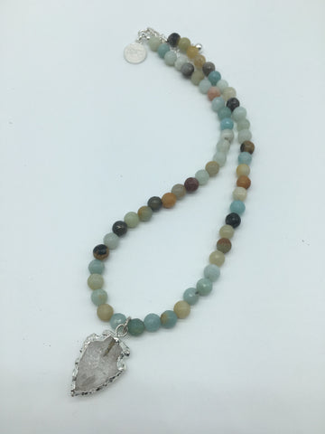 Amazonite Beaded Necklace Silver Electroplated Arrowhead Pendant