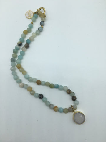 Amazonite Beaded Necklace Gold Electroplated Druzy Pendant