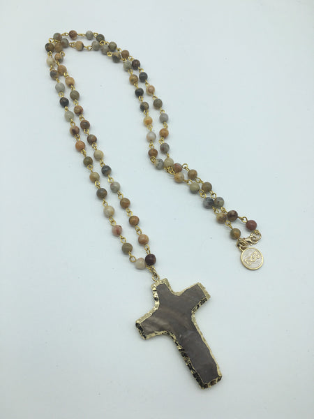 Agate Rosary Chain with Cros