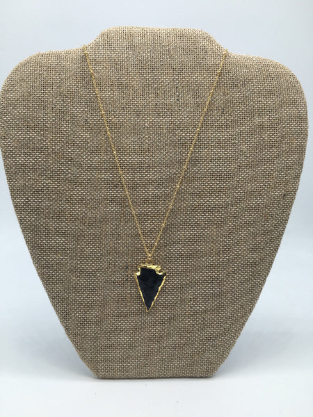 Gold Electroplated Black Obsidian Arrowhead Necklace