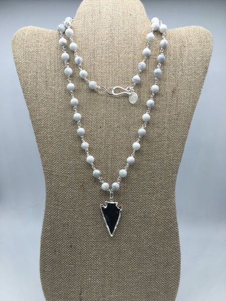 Rosary Necklace with Silver Electroplated Arrowhead