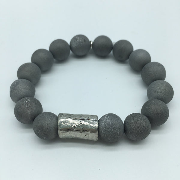 Stone Bracelet with Tube Accent Bead
