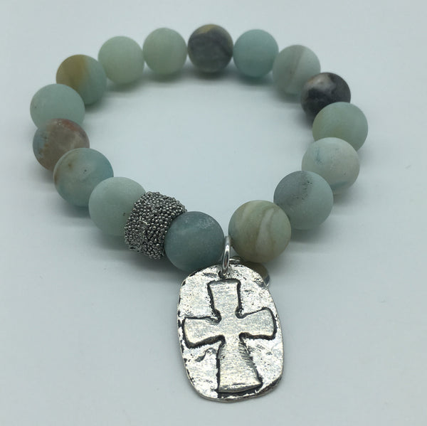 Stone Bracelet with a Celtic Cross Medallion