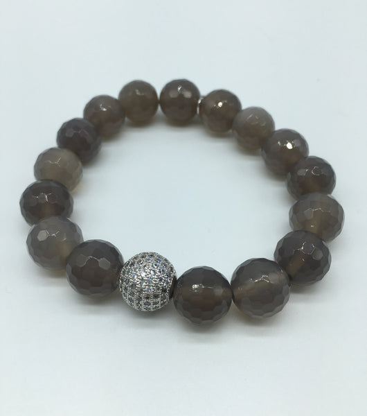 12mm Stone Bracelet with Pave Accent Bead