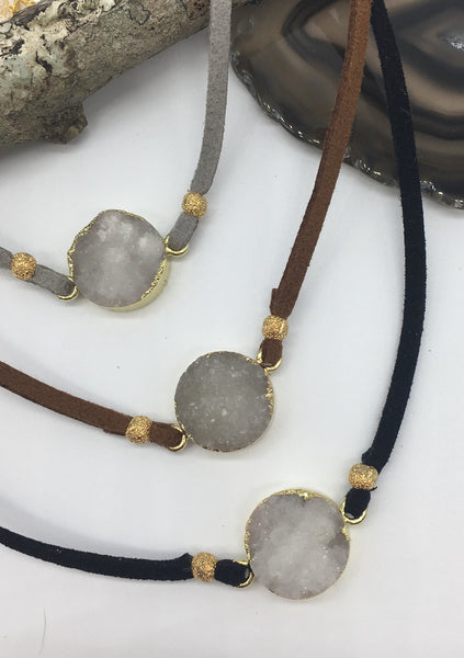 Leather Choker with Druzy Connector