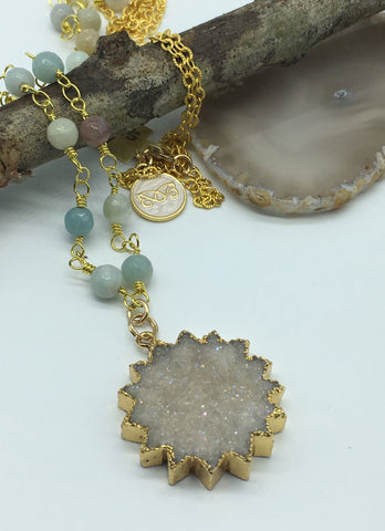 Amazonite Beaded Chain and Druzy Starburst Pendant