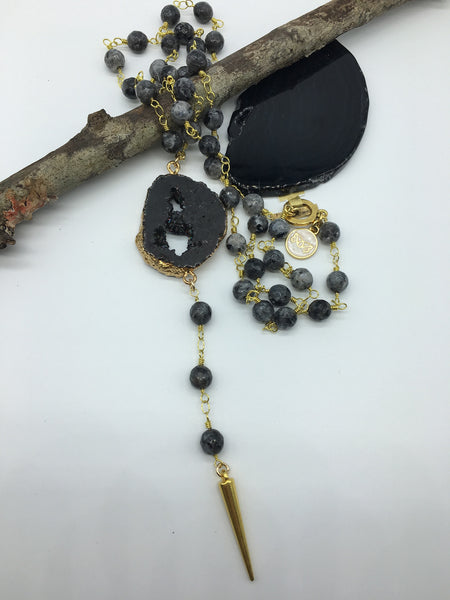 Labradorite Beaded Necklace with Geode Pendant