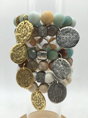 Stone Bracelet with Medallion Pendant