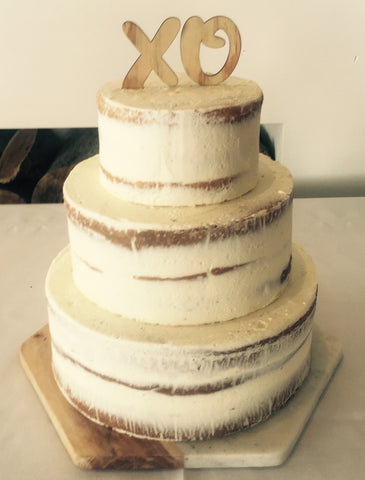 Naked Engagement/ Wedding cake with topper