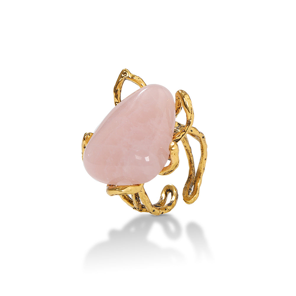Almathea Resizable Rose Quartz Ring