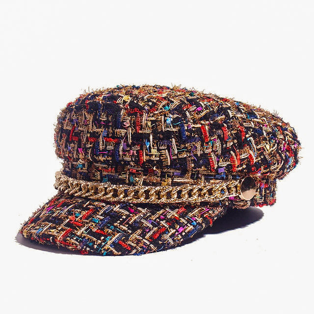 Chaxiraxi Tweed Fiddler Cap With Chain