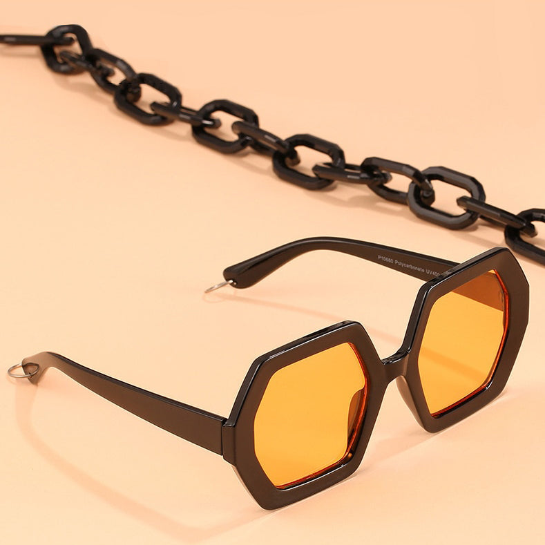 Asia Oversized Sunglasses with Chain