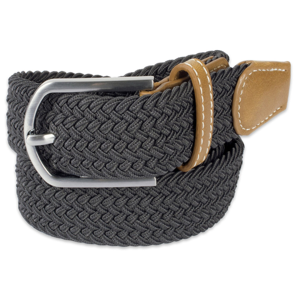 Mens Braided Elastic Woven Belt Dark Grey S