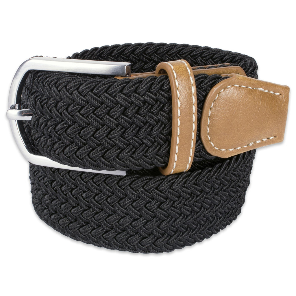 Mens Braided Elastic Woven Belt Black S