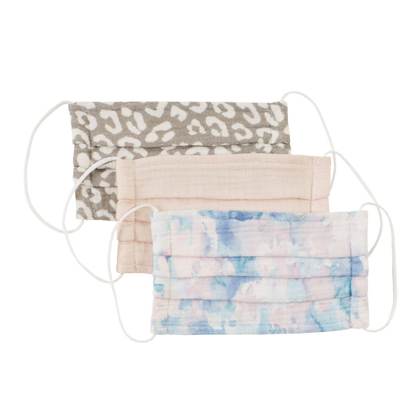 Cotton Face Mask Set of 3 - Blush Sky