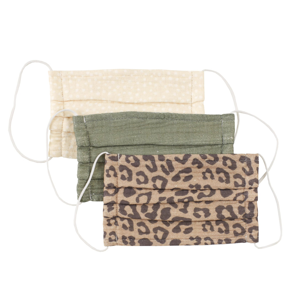 Cotton Face Mask Set of 3 - Olive Leopard