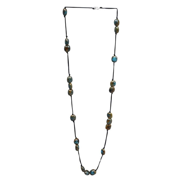 Wholesale Scarves - Long Knotted Necklace With Oval Clay Beads - Blue - Tickled Pink