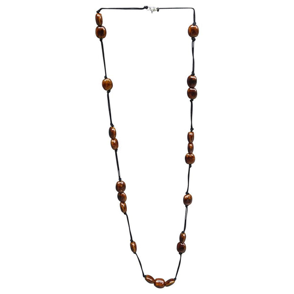 Wholesale Scarves - Long Knotted Necklace With Oval Clay Beads - Brown - Tickled Pink